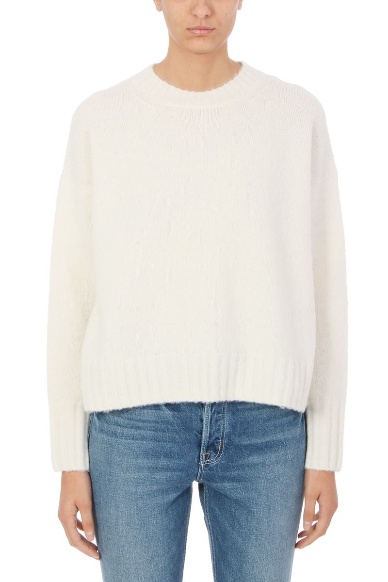 Helmut Lang Crewneck Sweater In Brushed Ivory Wool