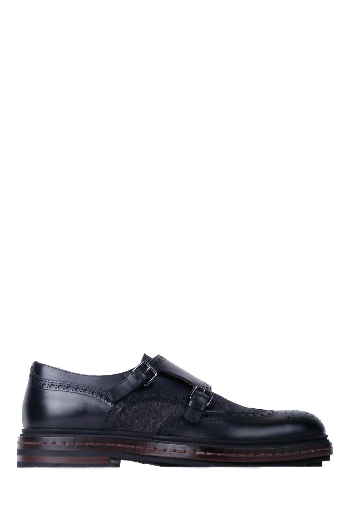 Santoni Black-grey Leather Man Double-buckles Shoes