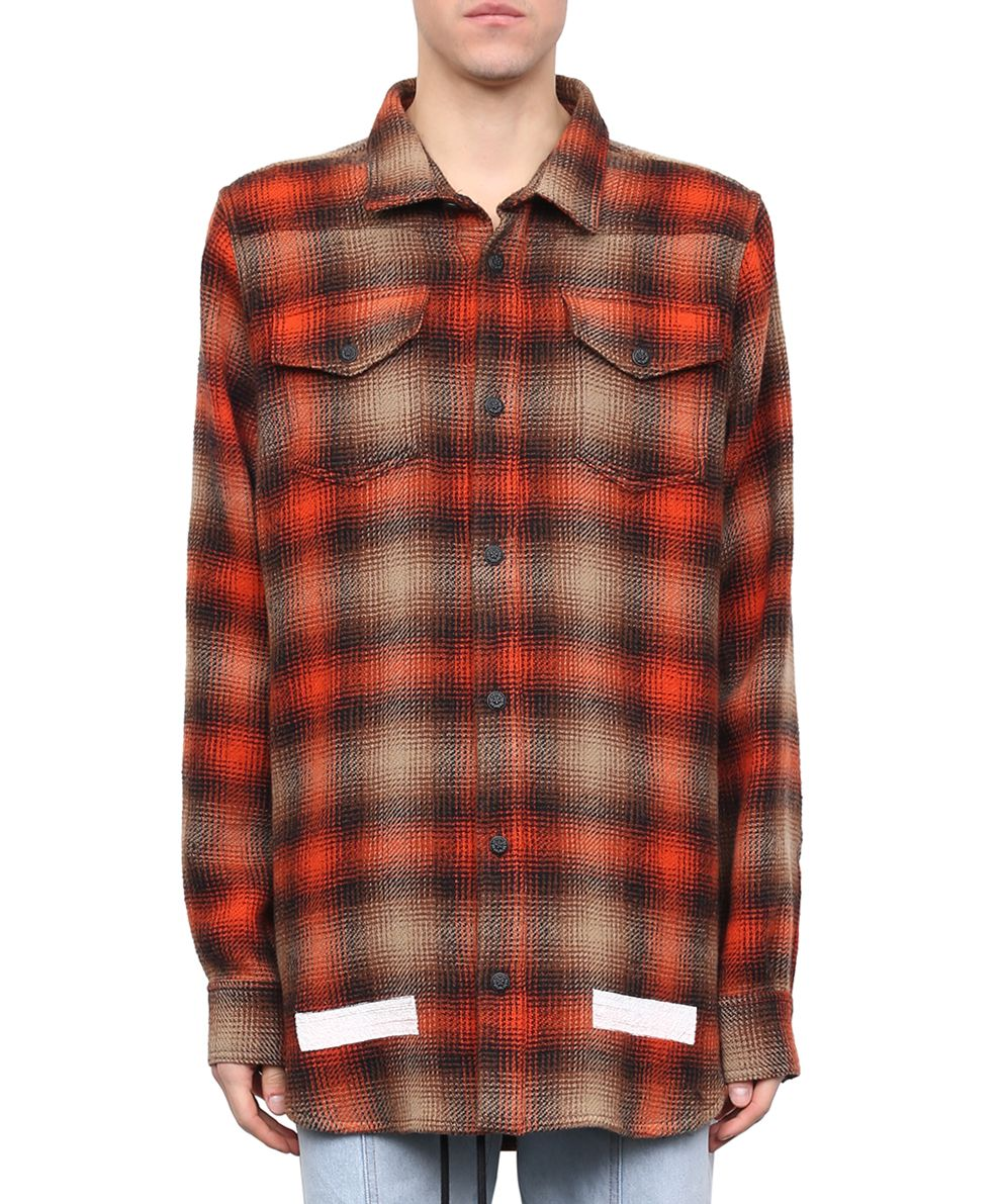 Off white off white brushed flannel shirt arancio men for White flannel shirt mens