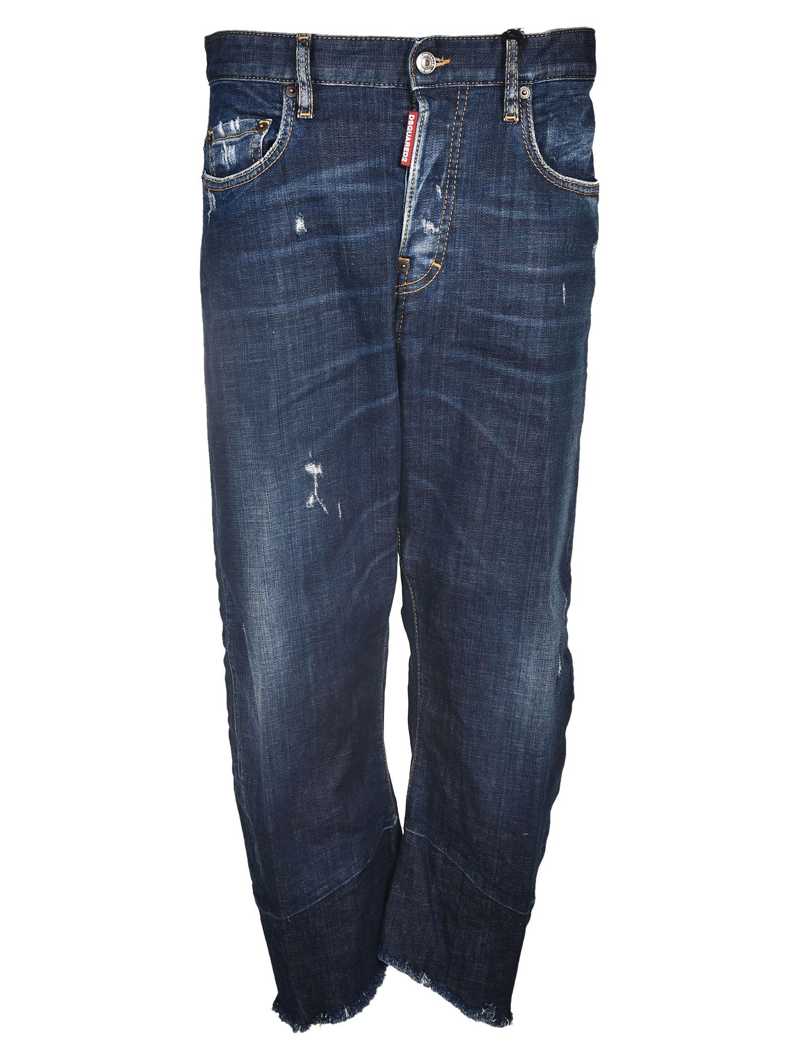 Dsquared2 Cropped Wide Leg Jeans