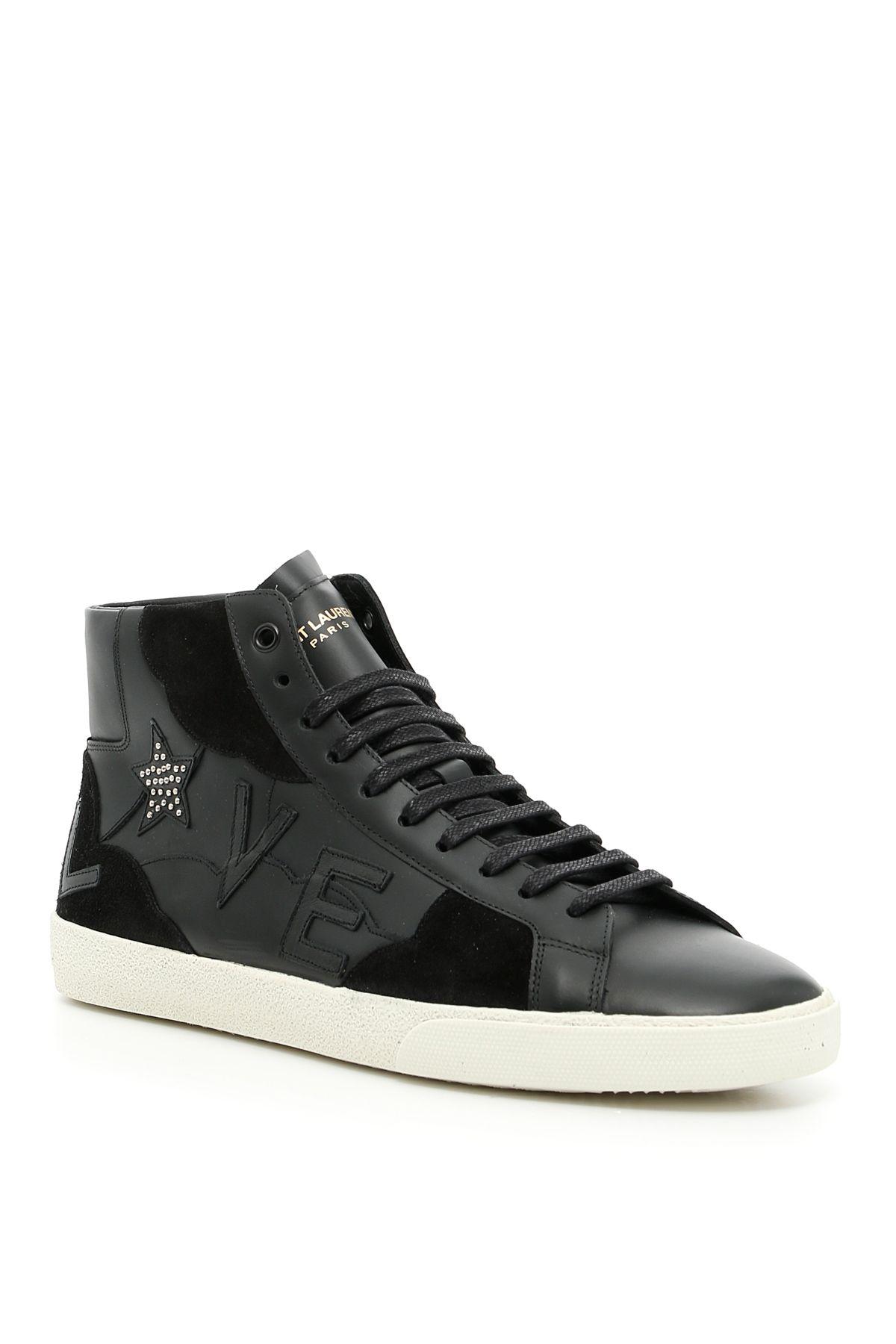 saint laurent love patch high top sneakers nero nero men 39 s sneakers italist. Black Bedroom Furniture Sets. Home Design Ideas
