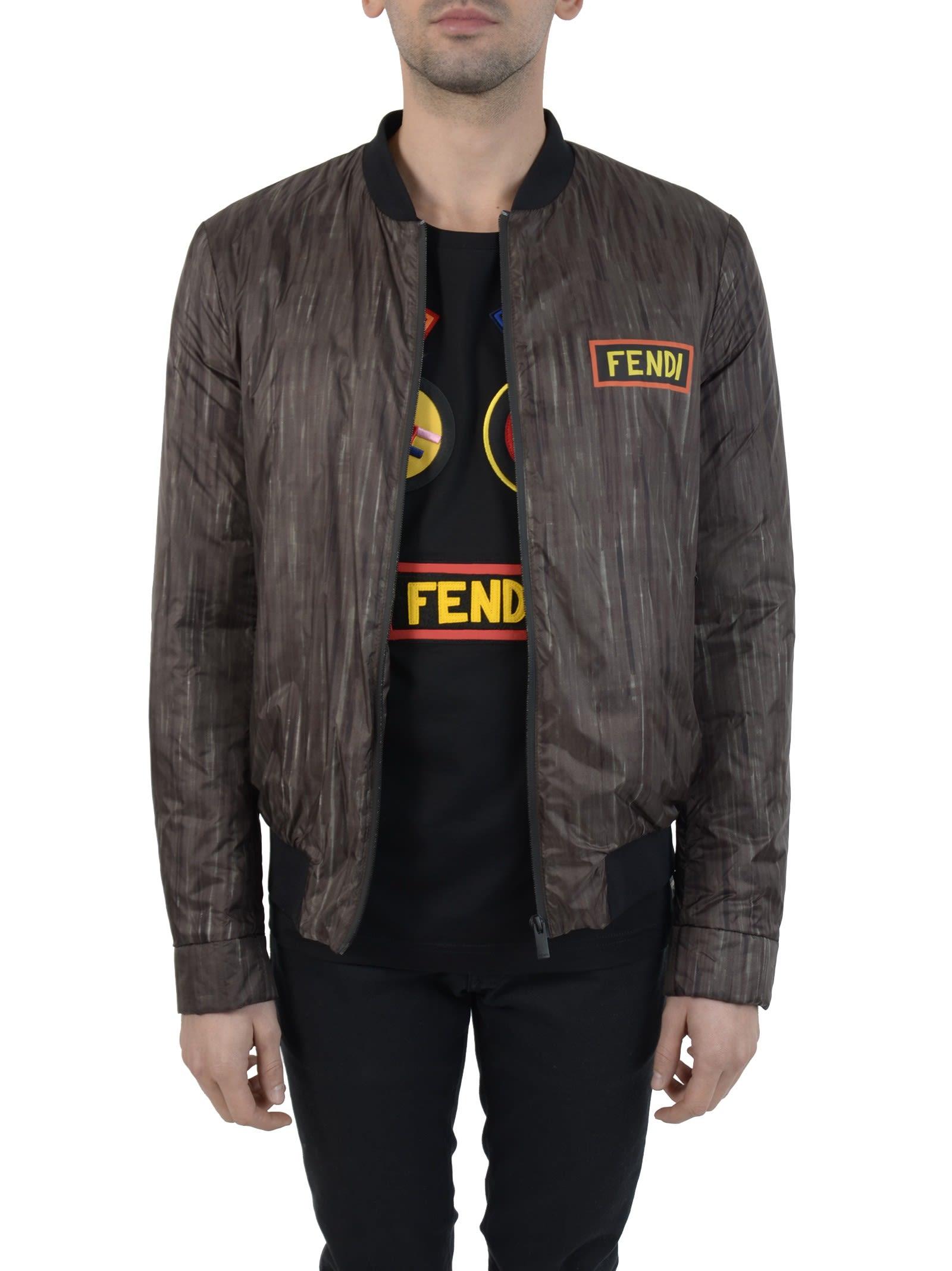 Fendi - Fendi Shaded Black Logo Bomber Jacket