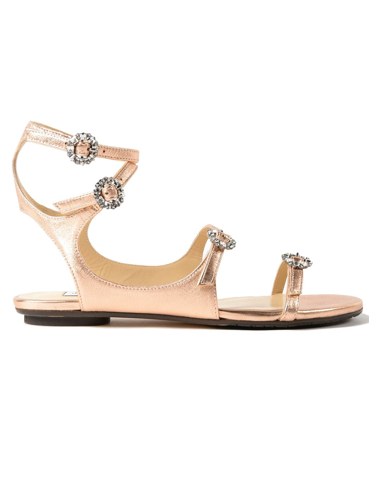 Jimmy Choo Metallic Nappa Crystal Buckle Sandal