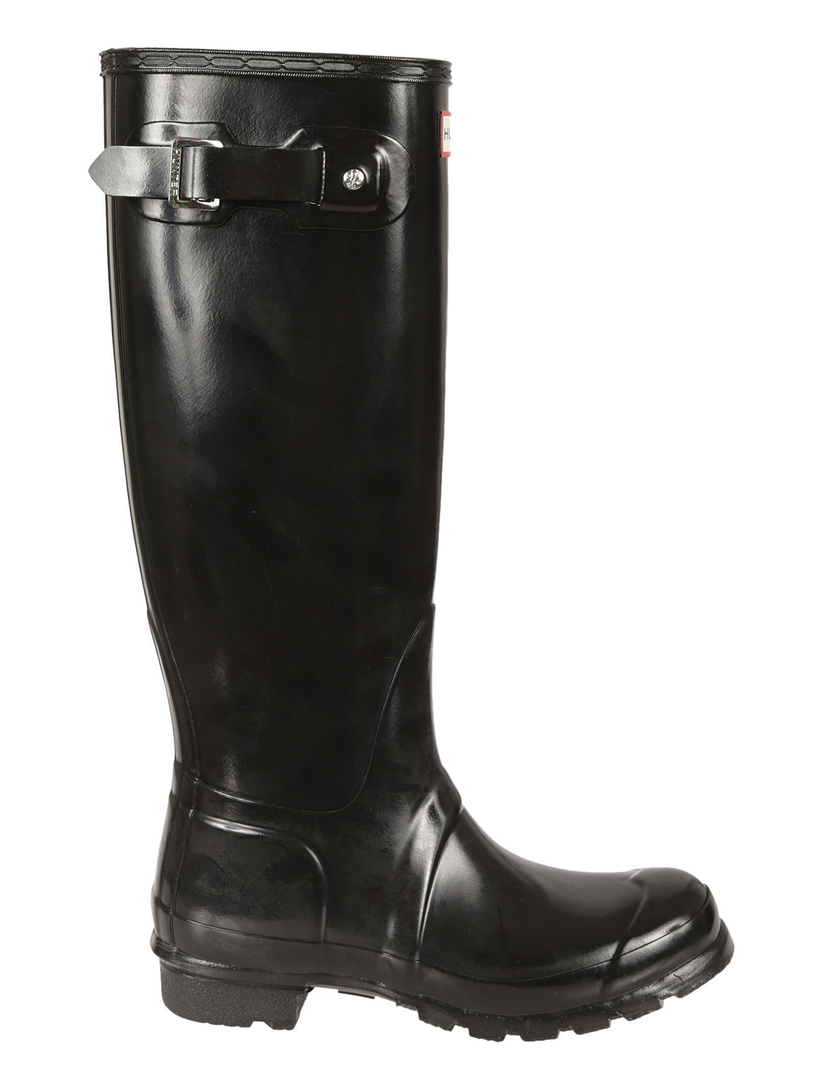 Black Buckle Knee Lenght Rain Boots