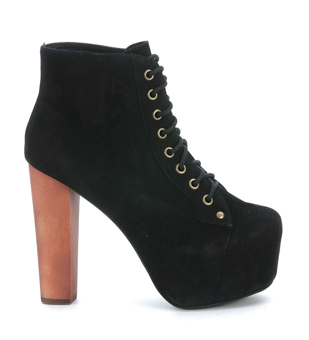 Jeffrey Campbell Lita Black Suede Ankle Boots