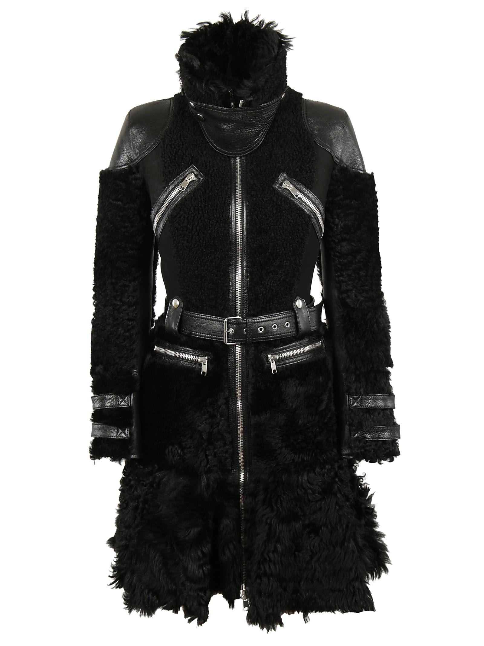 Alexander McQueen - Alexander McQueen Shearling Biker Coat - Black ...
