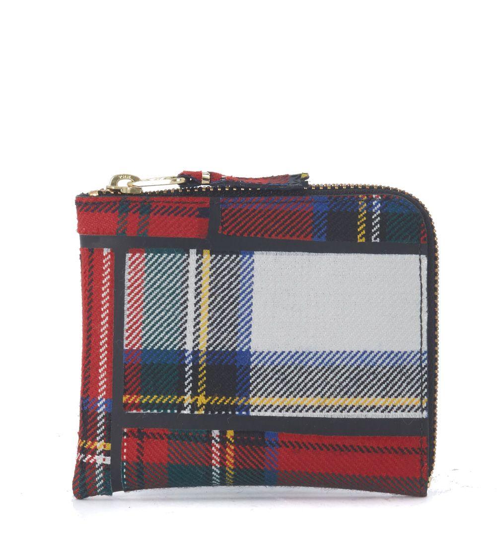 Comme Des Garçons Rectangular Red Wool Tartan Patchwork Wallet