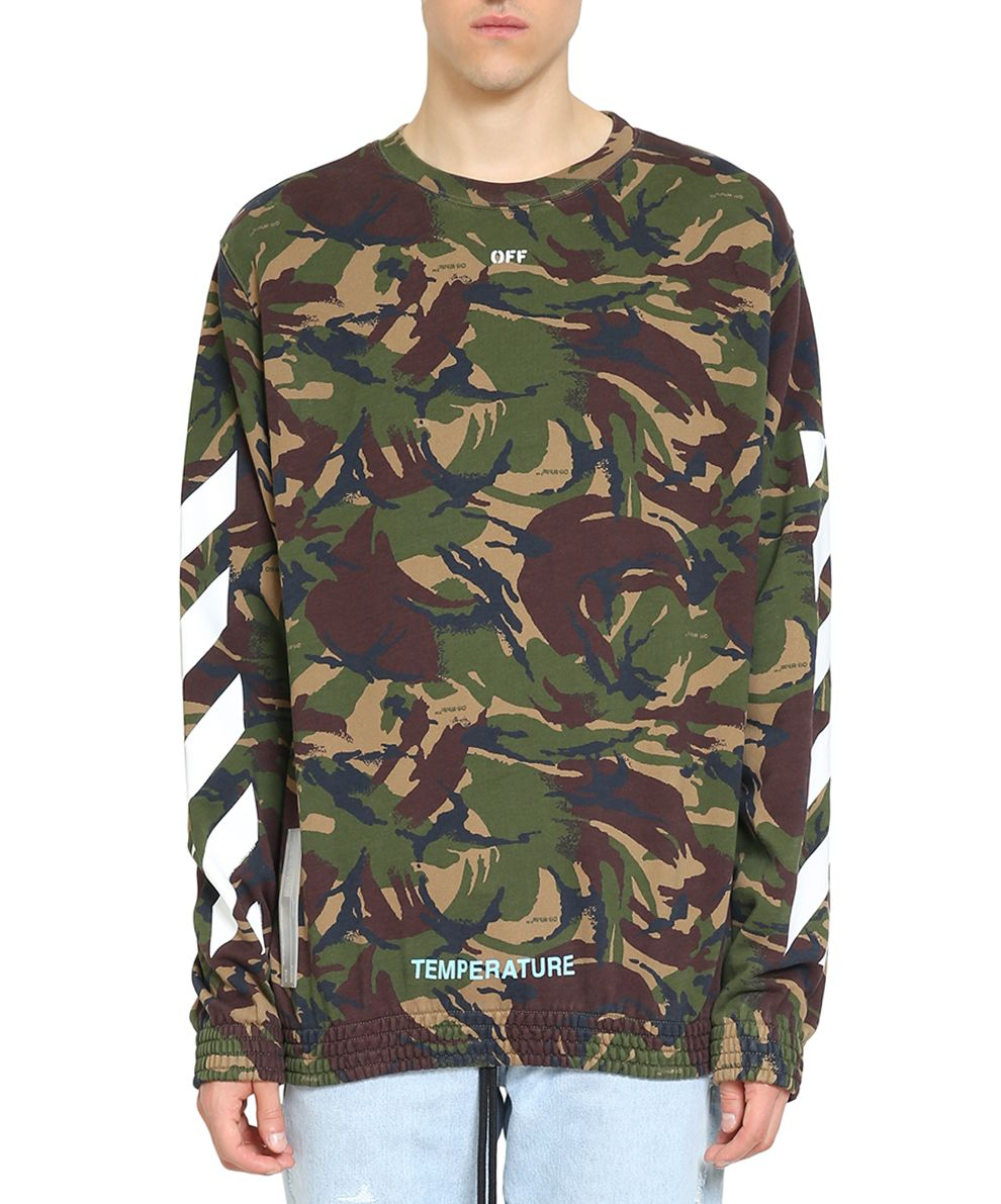 Off-White Diagonal Camouflage Cotton Sweatshirt