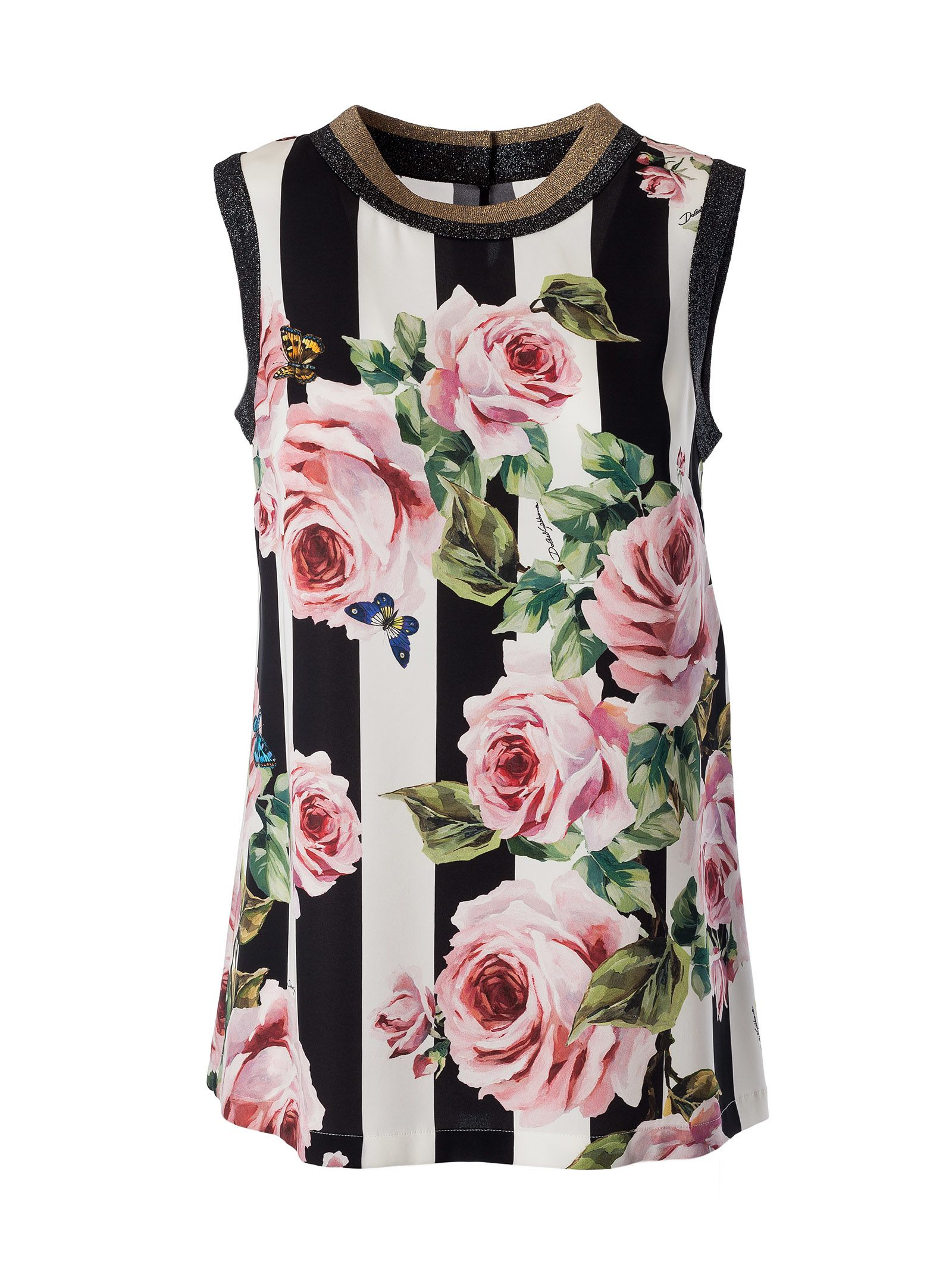 Dolce & Gabbana Striped Rose Tank Top