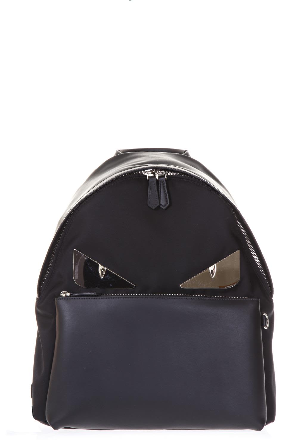 Fendi Bag Bugs Black Leather & Nylon Backpack