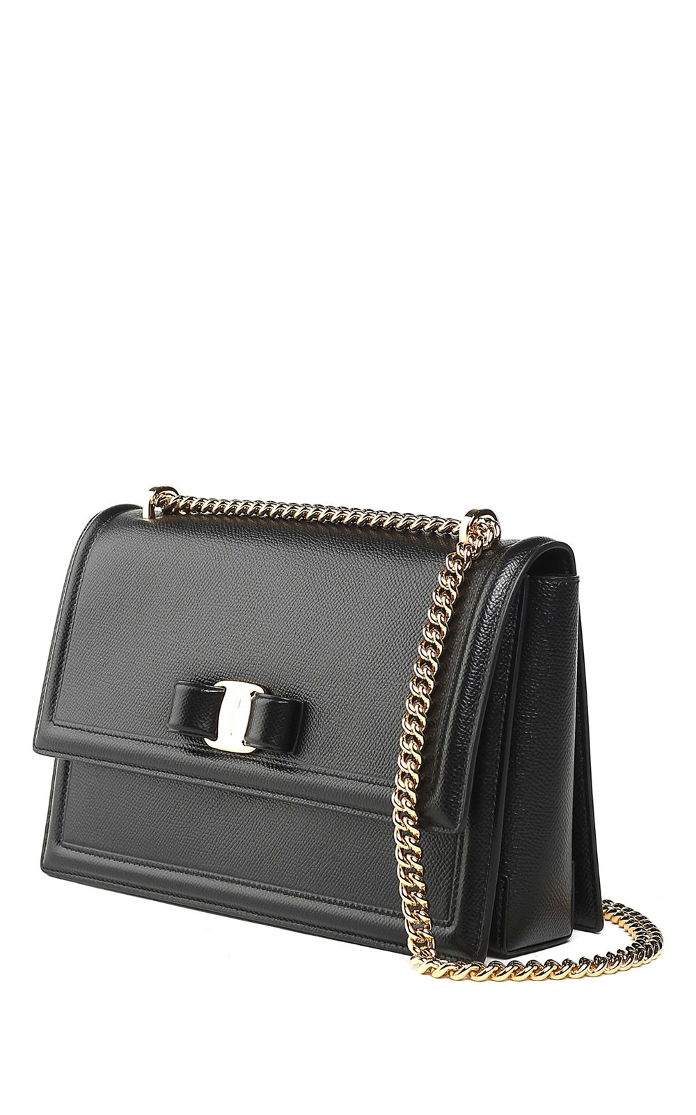 1d3b2deba048 Salvatore Ferragamo Ginny Pebbled-Leather Shoulder Bag In Nero ...