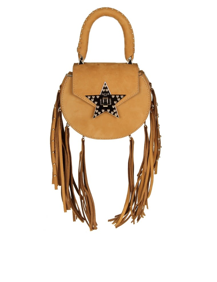 Salar  MIMI FRINGE BAG COGNAC SUEDE WITH FRINGE APPLIED