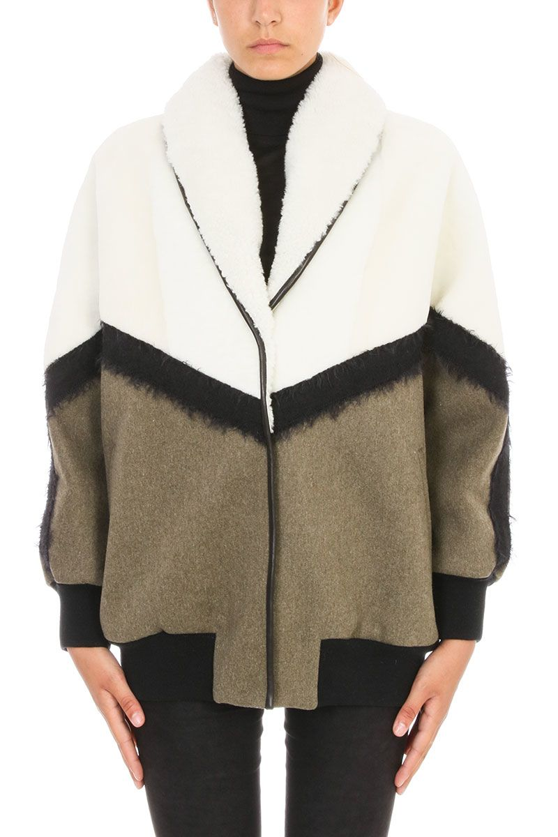 DROMe White And Green Leather Bomber