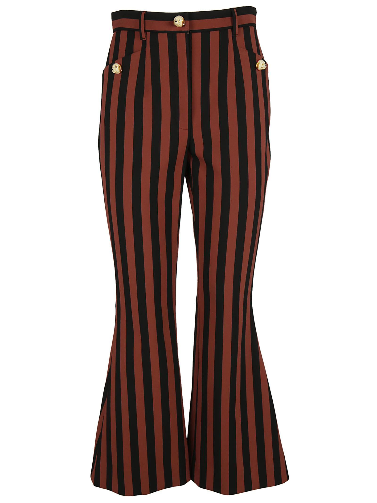 Dolce & Gabbana Dog Detail Buttons Striped Trousers