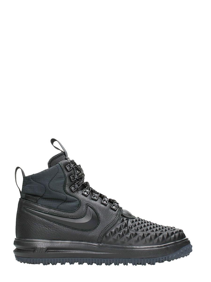 Nike Black Leather Lunar Force 1 Duckboot Sneakers