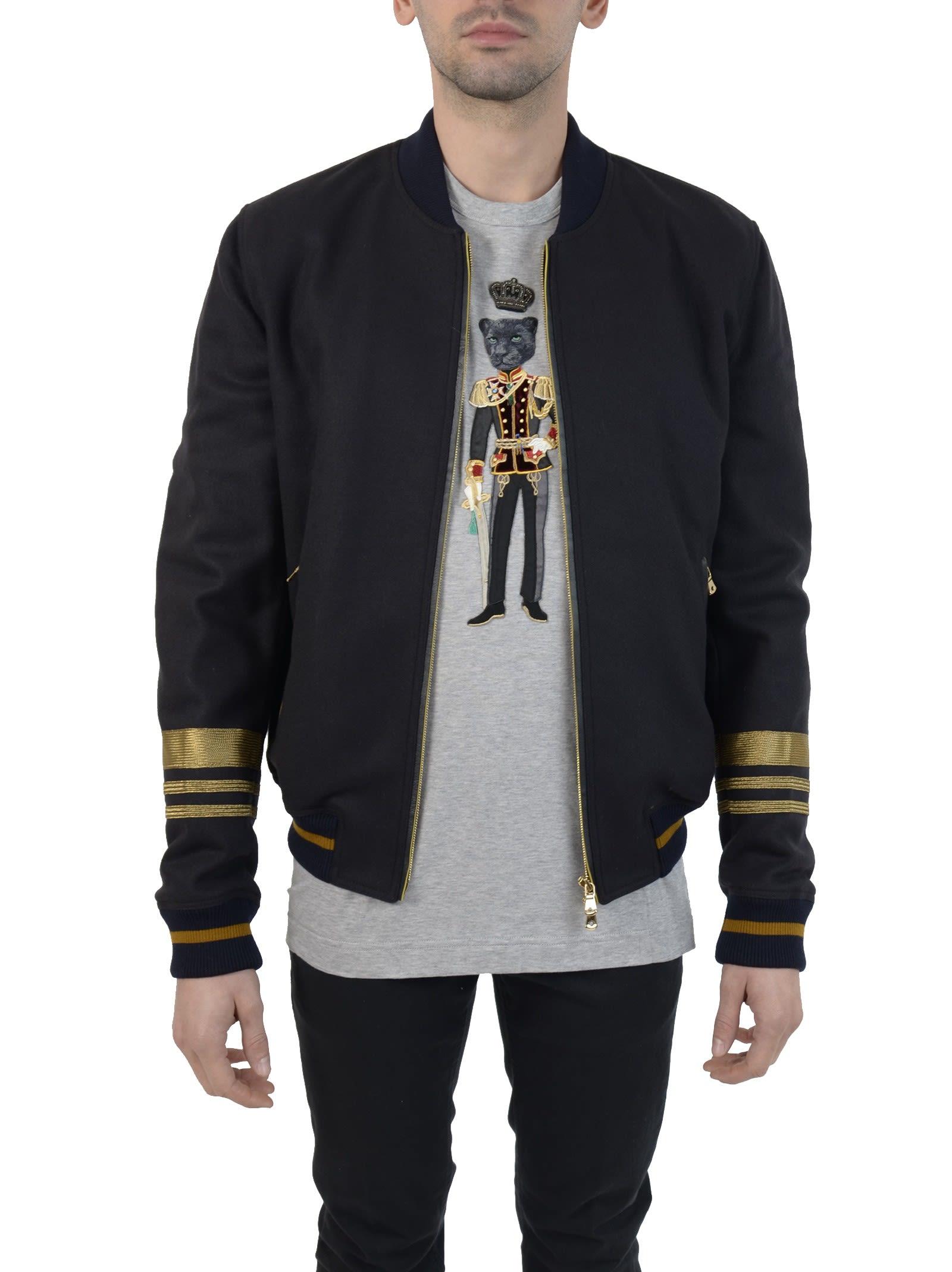 Dolce & Gabbana Blue Wool Bomber Jacket