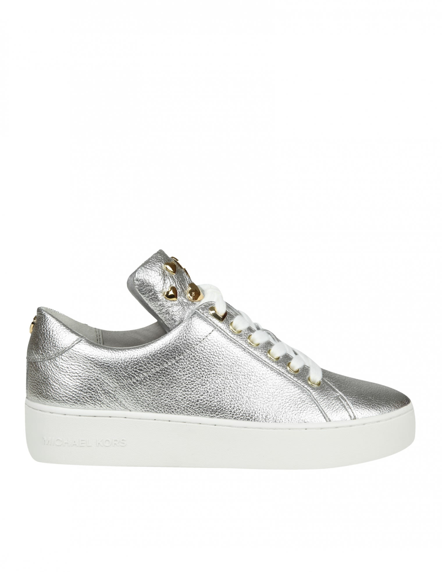 Michael Kors Mindy Sneakers In Laminated Silver Leather