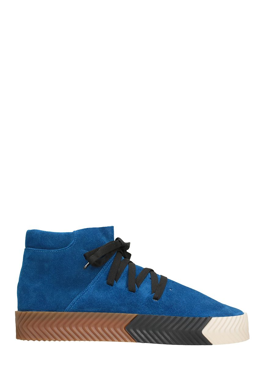 Adidas Originals By Alexander Wang Suedes SKATE MID BLUE SUEDE SNEAKERS