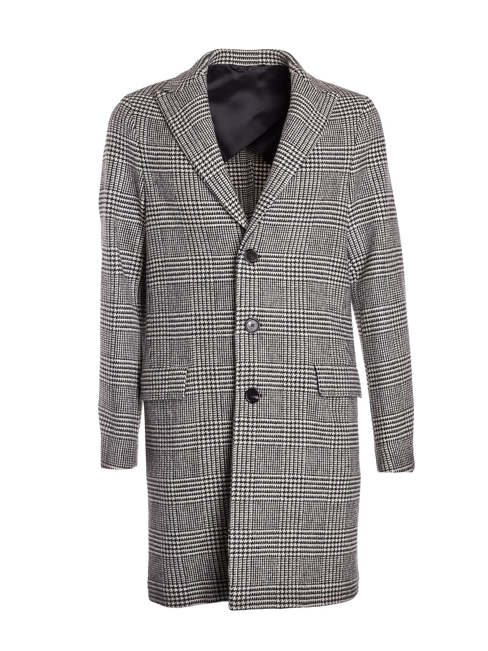 Dondup Glen Check Pattern Coat
