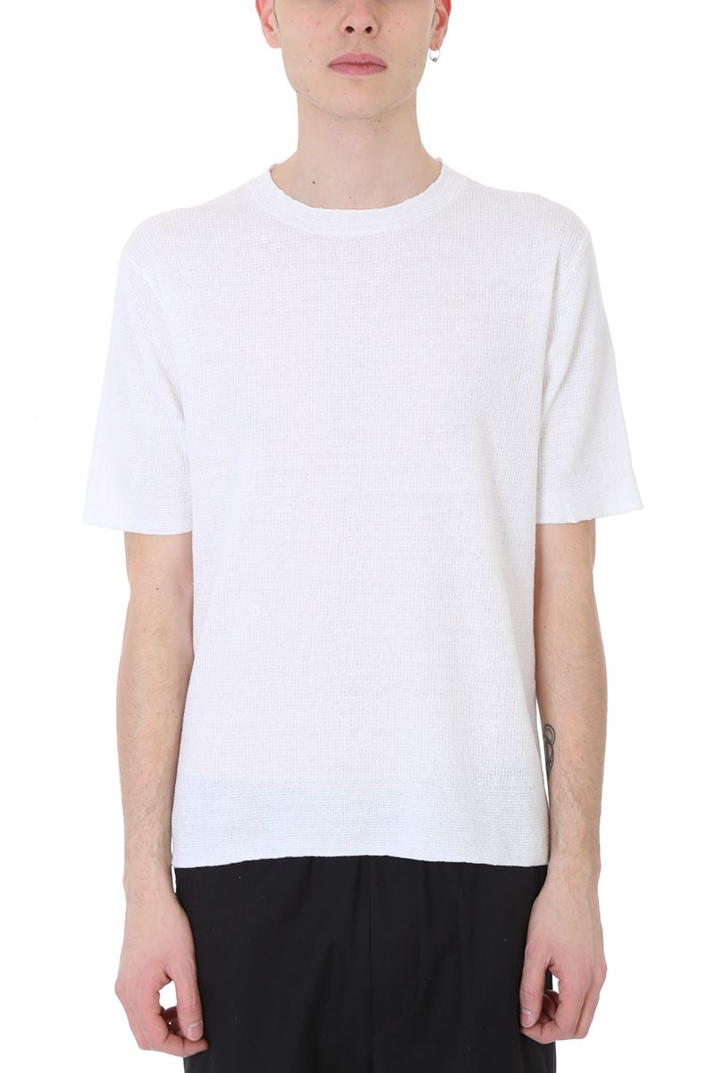 Mauro Grifoni White Line And Cotton T-shirt