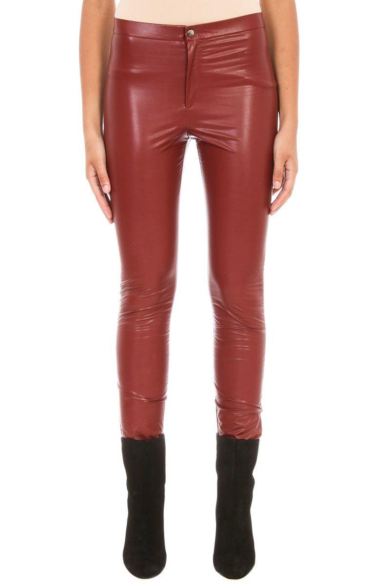 Isabel Marant Etoile Jeffery Bordeaux Faux Leather Trousers