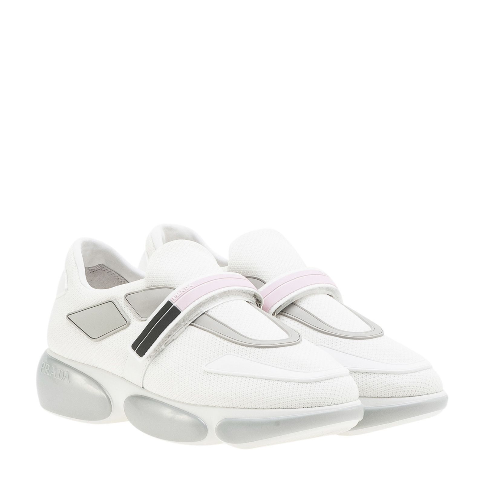 PRADA Cloudbust Rubber And Leather Trimmed Mesh Sneakers, Argento Aqua