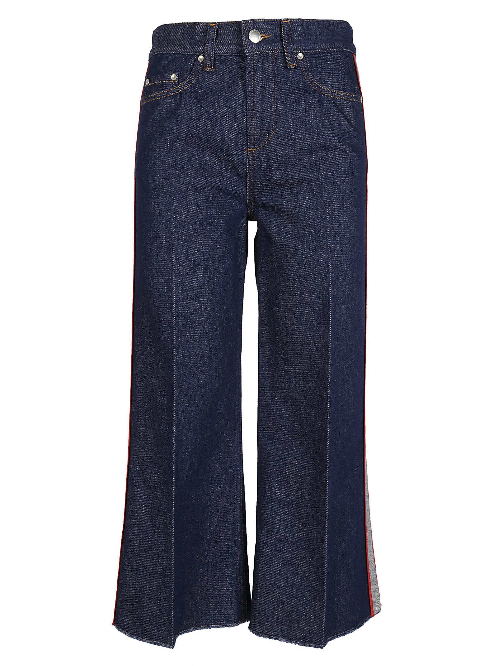 Red Valentino  RED VALENTINO SIDE STRIPE DENIM PANTS