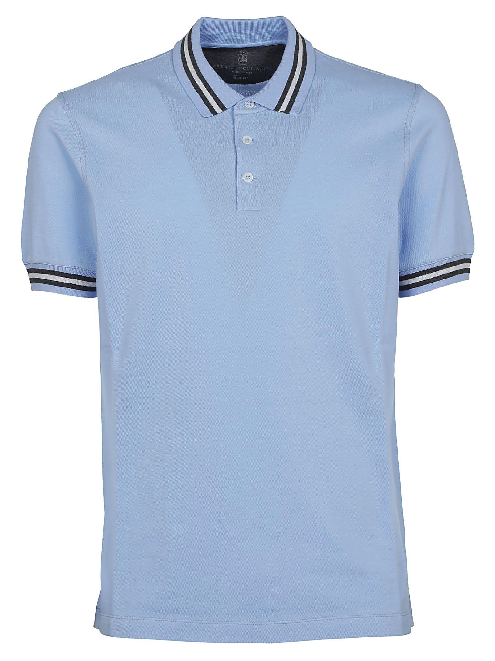Brunello Cucinelli Striped Detail Polo Shirt