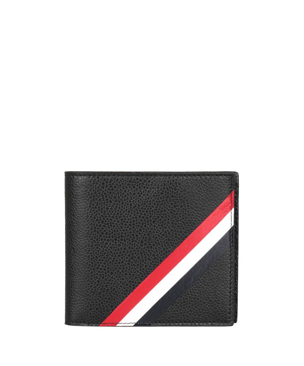 Thom Browne Pebbled Leather Striped Bi Fold Wallet