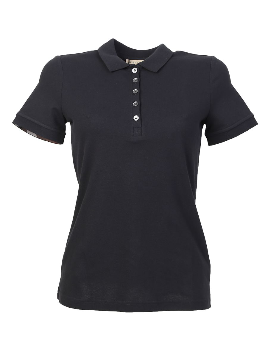 Black Cotton Stretch Polo