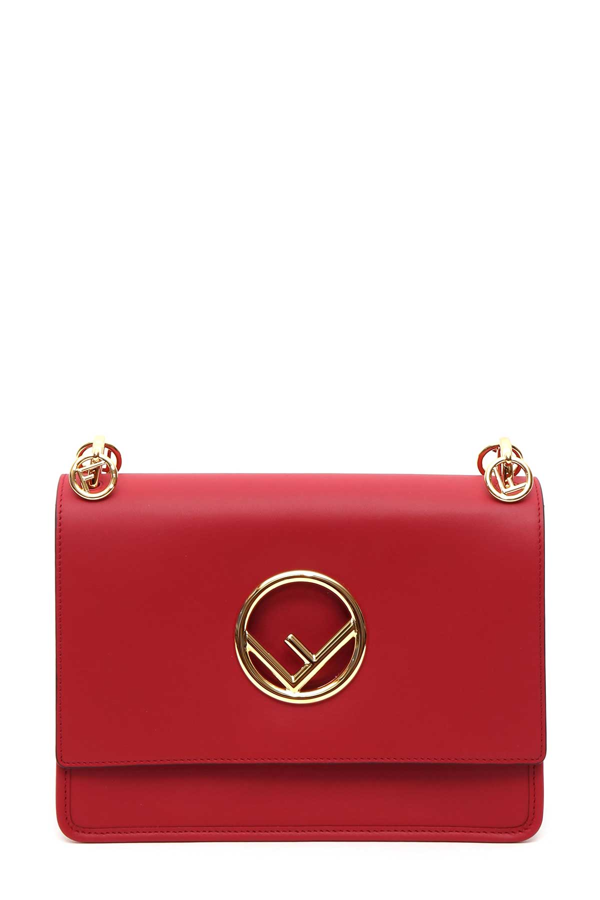 FENDI KAN I CALFSKIN LEATHER SHOULDER BAG - RED