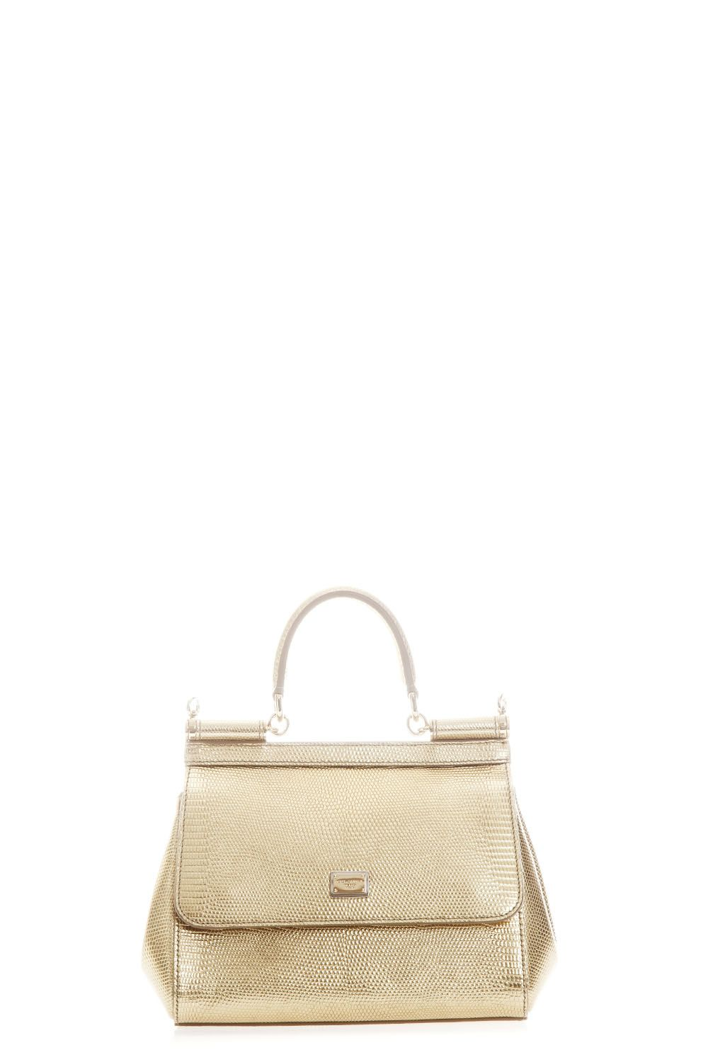 Dolce   Gabbana Small Sicily Dauphine Leather Bag In Gold   ModeSens ce390504f6