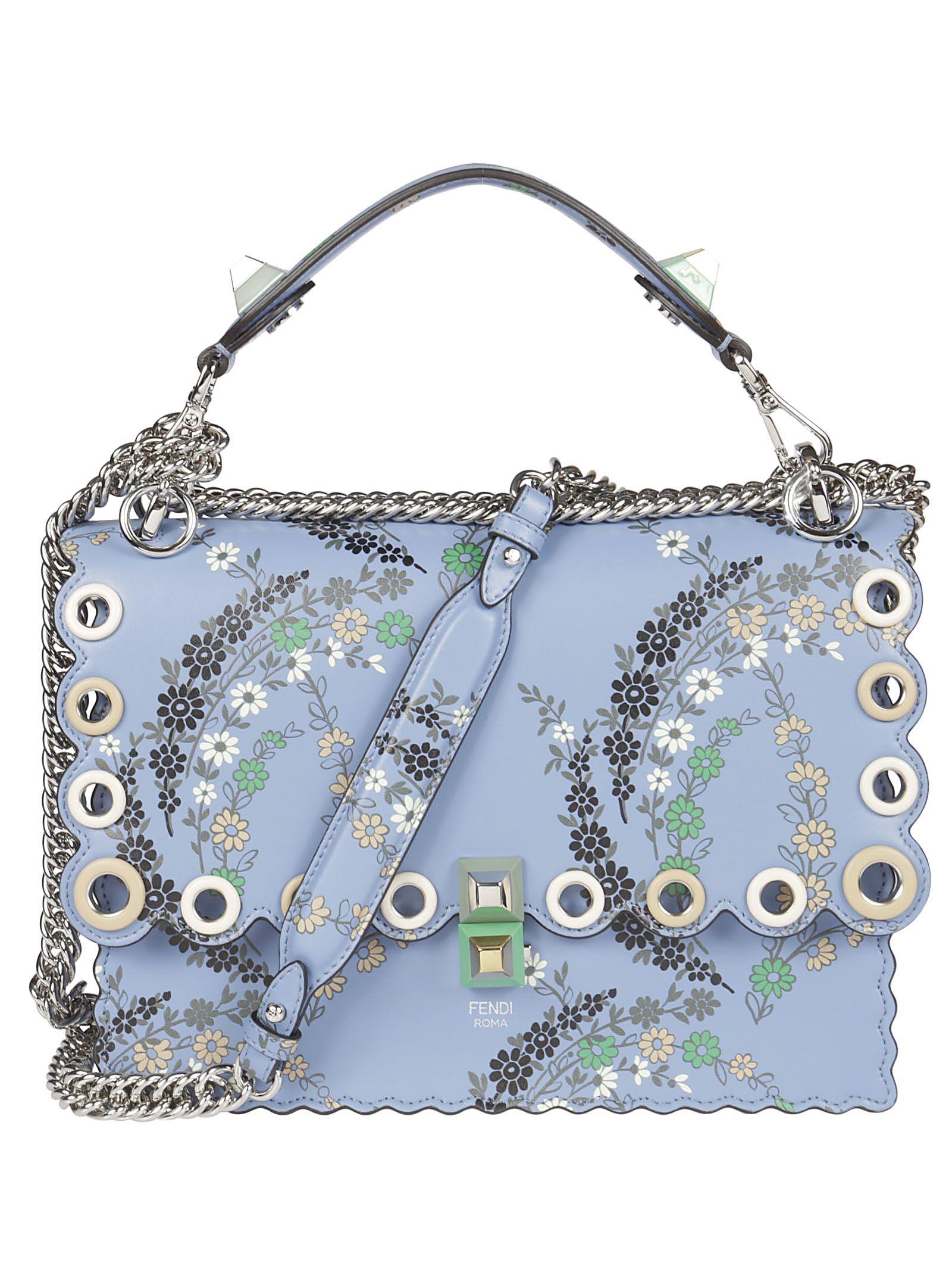 Fendi Floral Print Scalloped Shoulder Bag