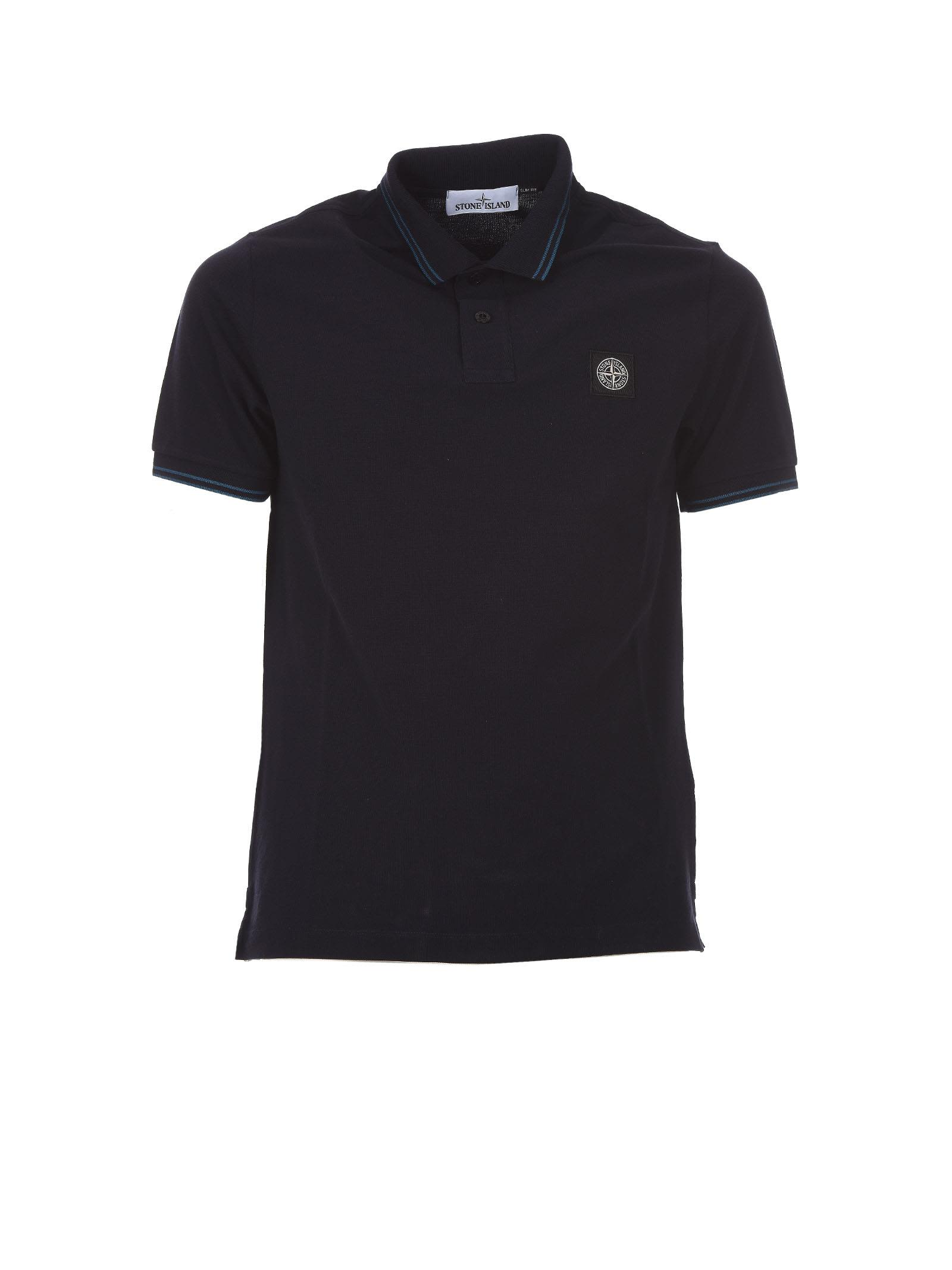 Stone Island Blue Polo Piquet