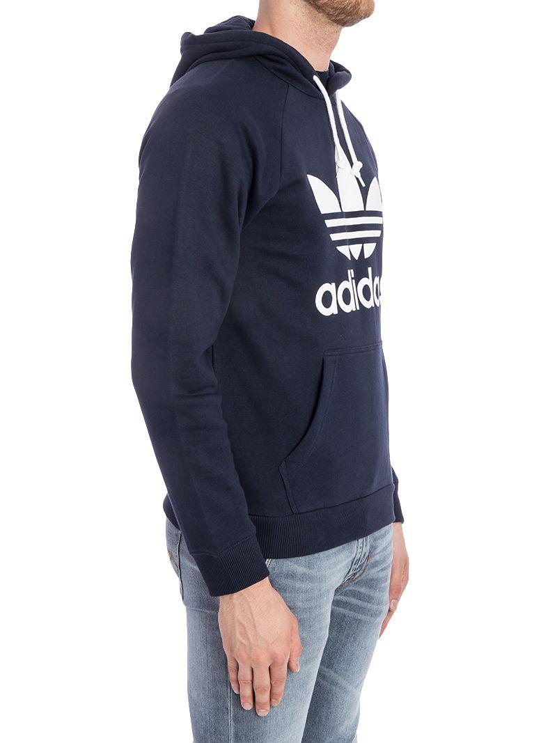 04ed85f8b89f62 Adidas Originals Trefoil Hoody Cotton Blend Sweatshirt In Navy Blue ...