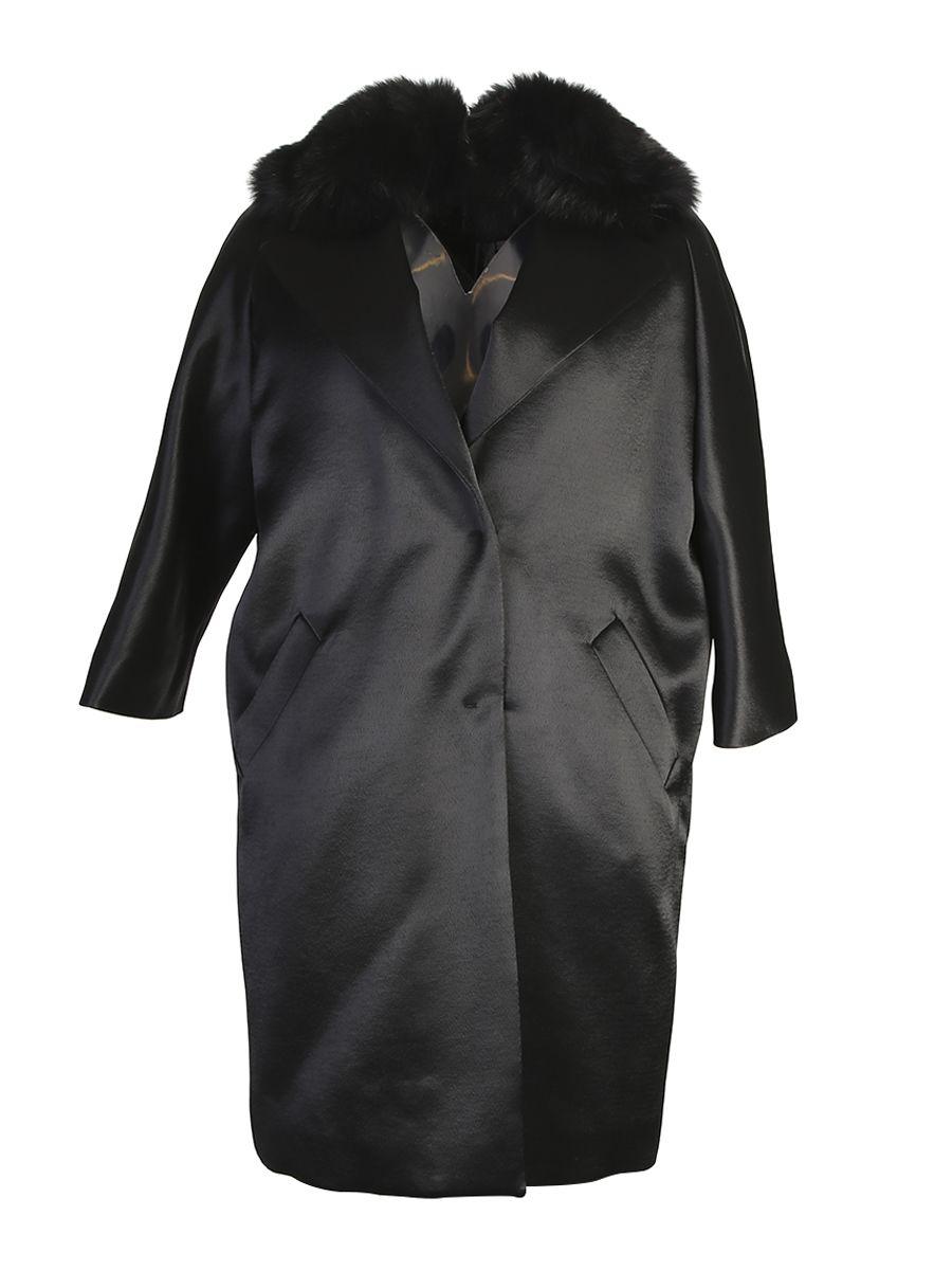 Viscose Coat With Genuine Fur