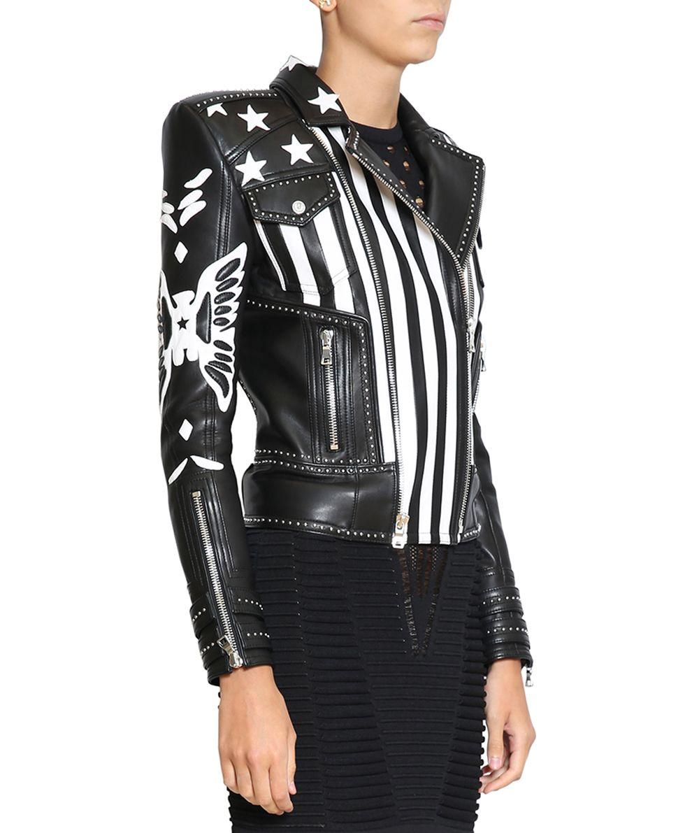 Balmain womens leather jacket sale