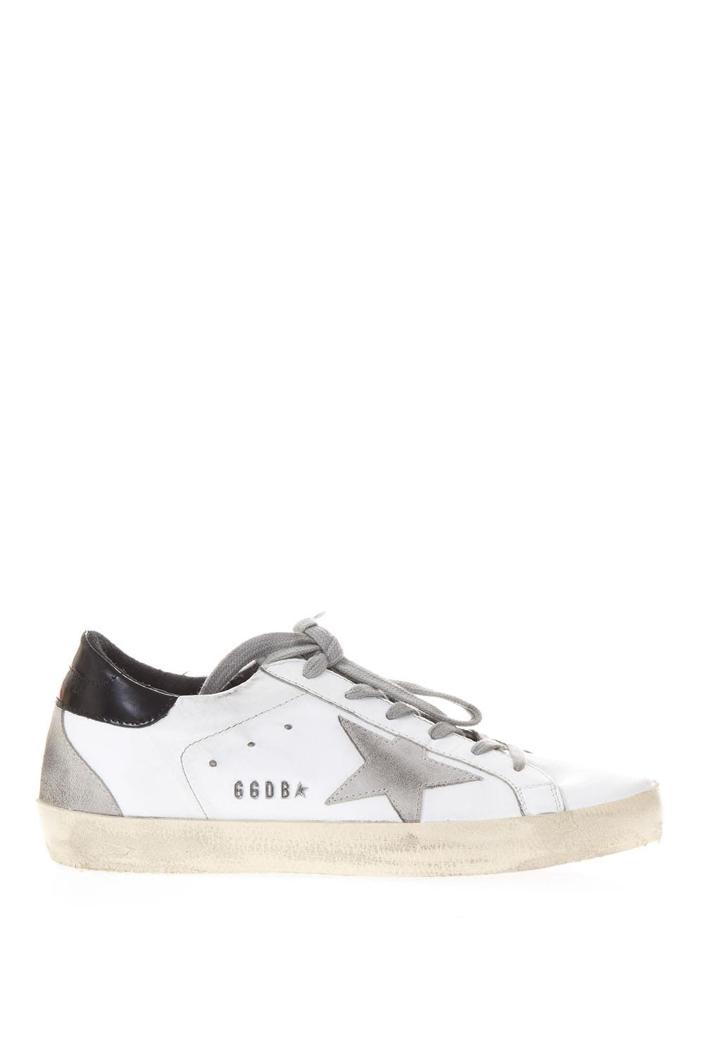 Golden Goose 20mm Super Star White & Black Leather Sneakers