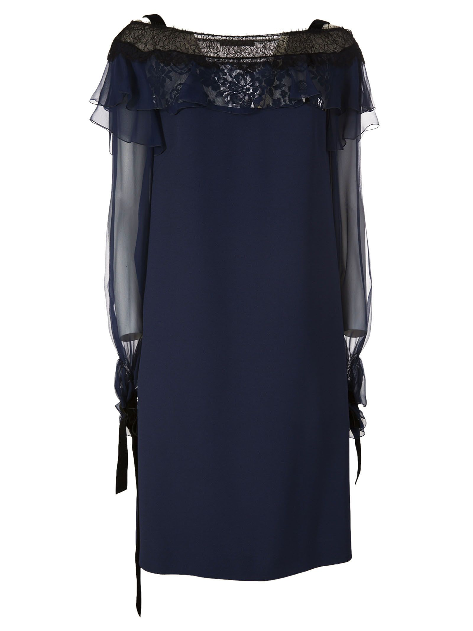 Alberta Ferretti Lace Off-shoulder Dress