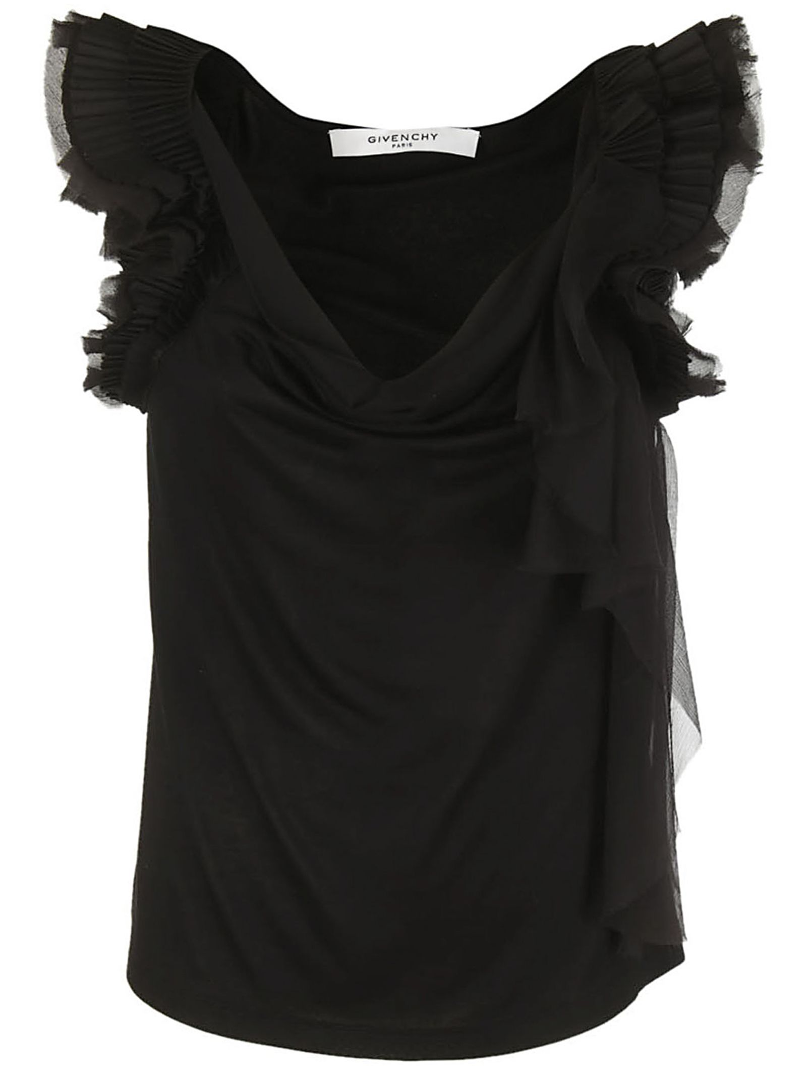 Givenchy Fill Trim Slash Neck Blouse