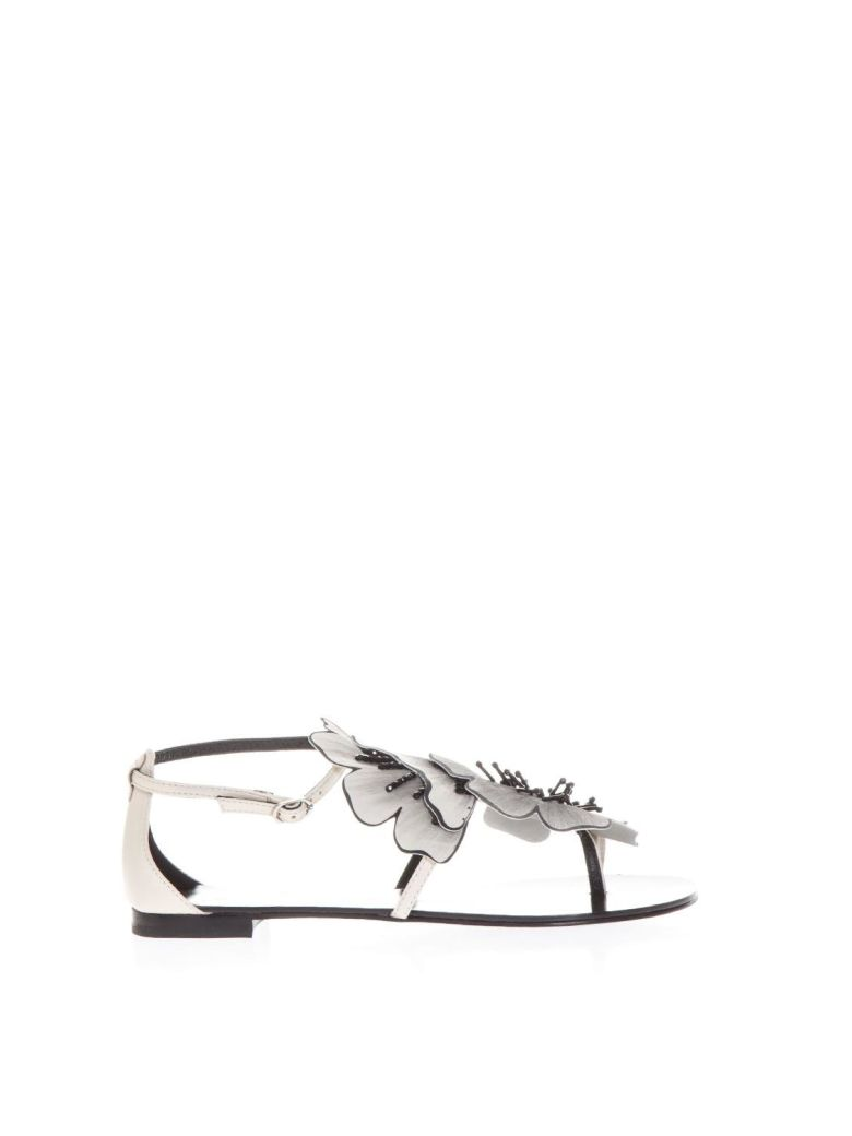 LOLA CRUZ PLANA WHITE LEATHER FLOPS