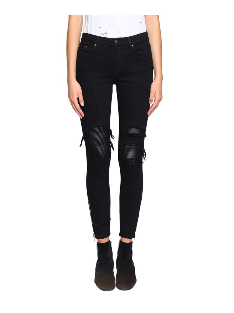 Skinny Jeans With Leather Patches in Black