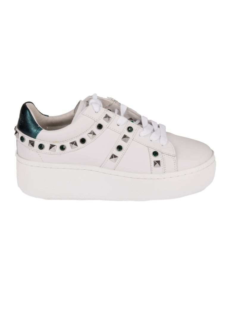 Studded Jewel Embellished Sneakers, White Emeraude