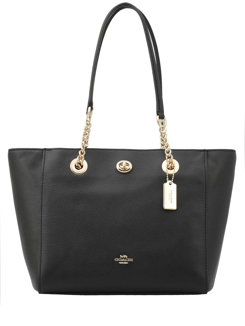 508a8e0e7c7c Coach Turnlock Tote In Crossgrain Leather In   Light Gold Black ...