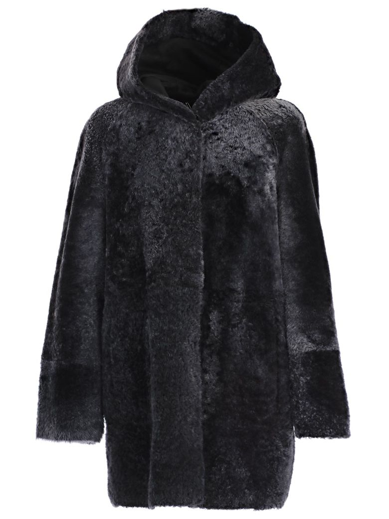 Drome Montone Hooded Coat, Black