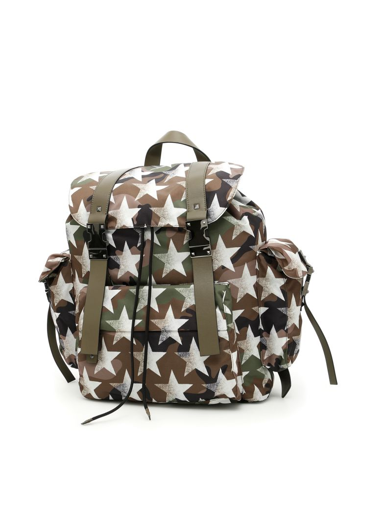 Valentino Jacquard Camouflage Backpack In Army Green