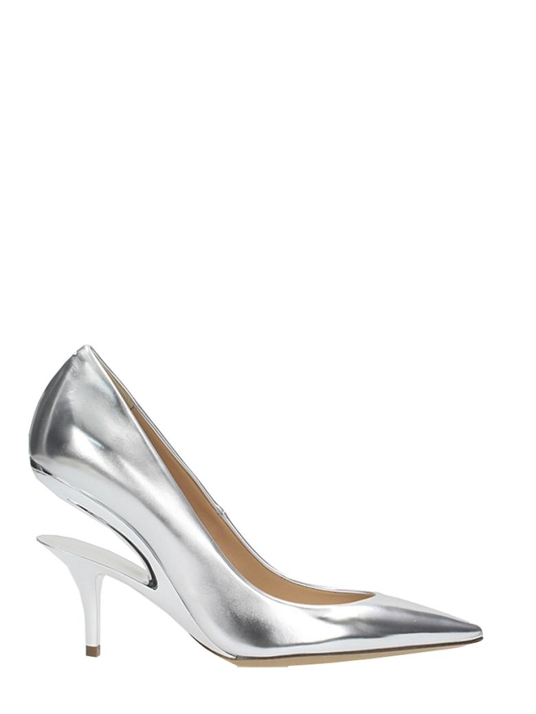SILVER-TONED LEATHER SCULPTED HEEL PUMPS