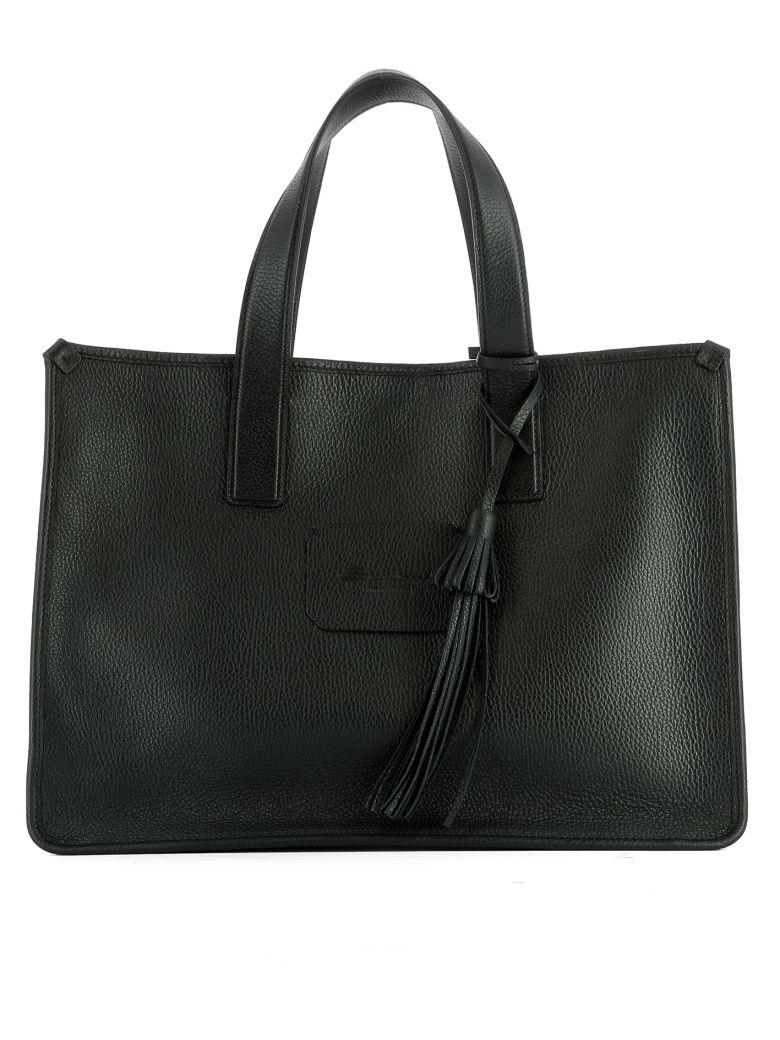 Santoni  BLACK LEATHER SHOULDER BAG