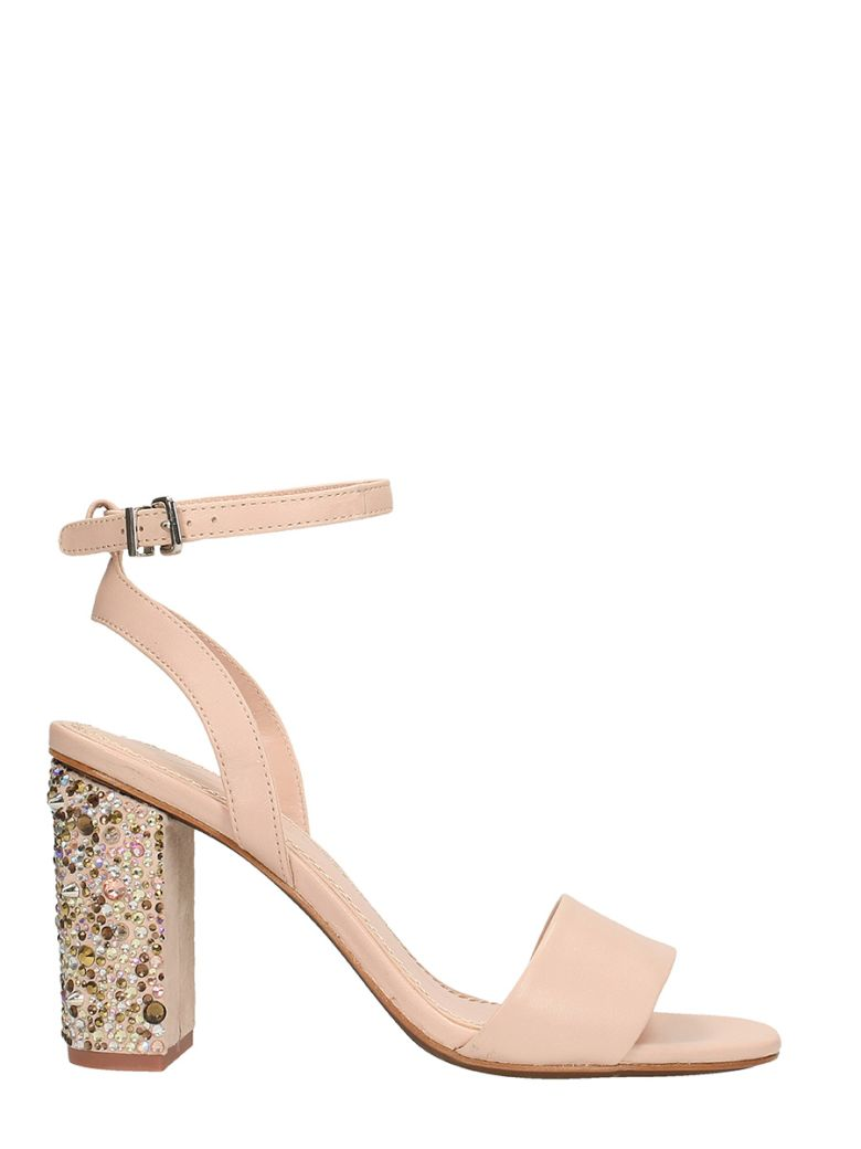 LOLA CRUZ POWDER LEATHER SANDALS