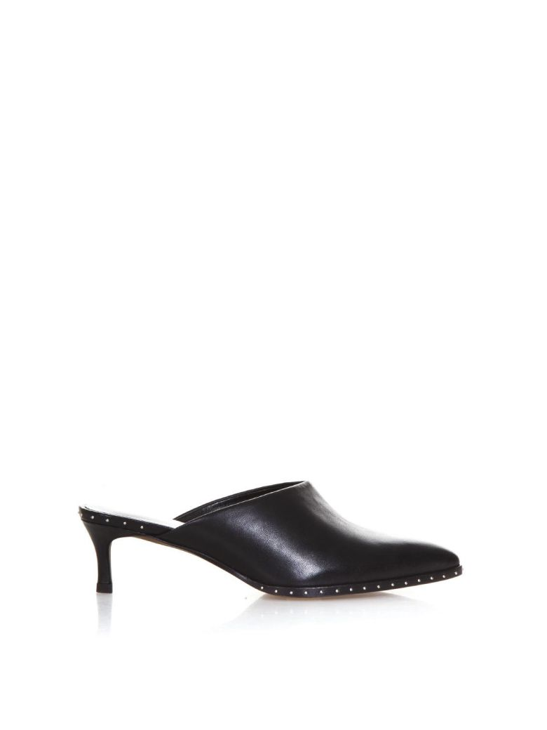 LOLA CRUZ BLACK LEATHER STUDDED MULES